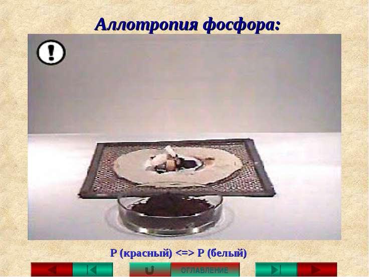 Аллотропия фосфора: Р (красный) Р (белый) ОГЛАВЛЕНИЕ