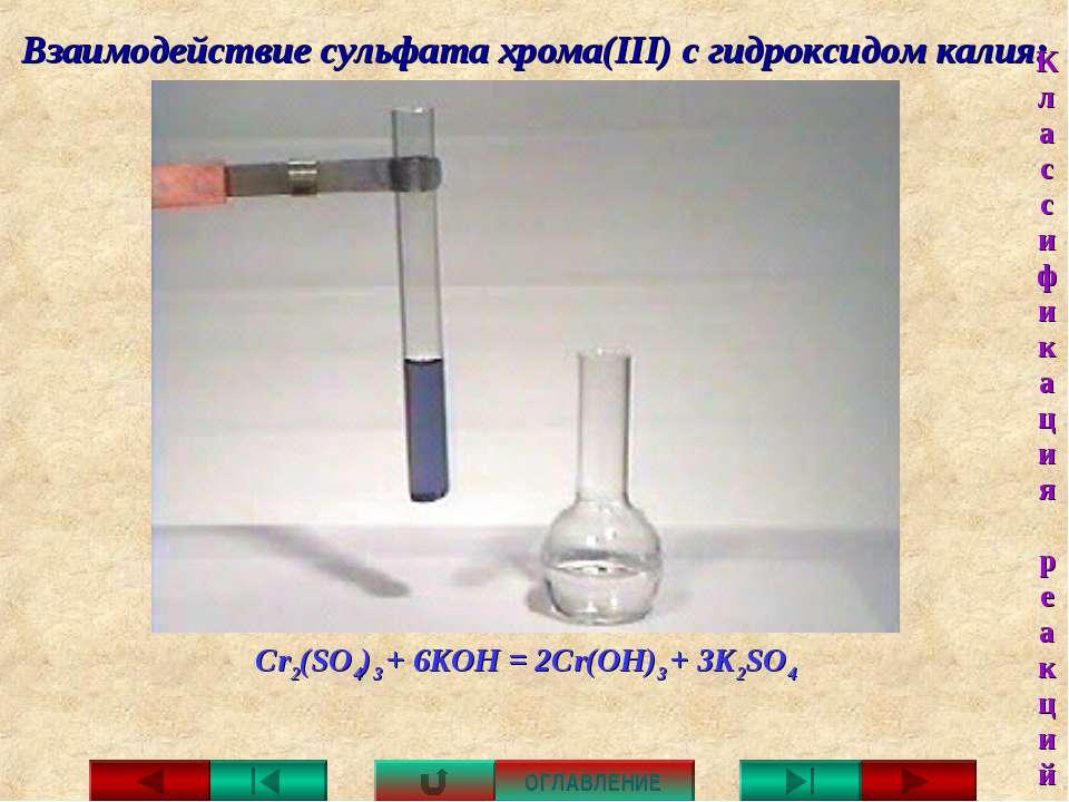 Взаимодействие сульфата хрома(III) с гидроксидом калия: Cr2(SO4)3 + 6KOH = 2C...