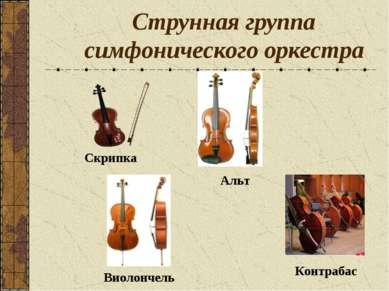 Струнная группа симфонического оркестра Скрипка Альт Виолончель Контрабас