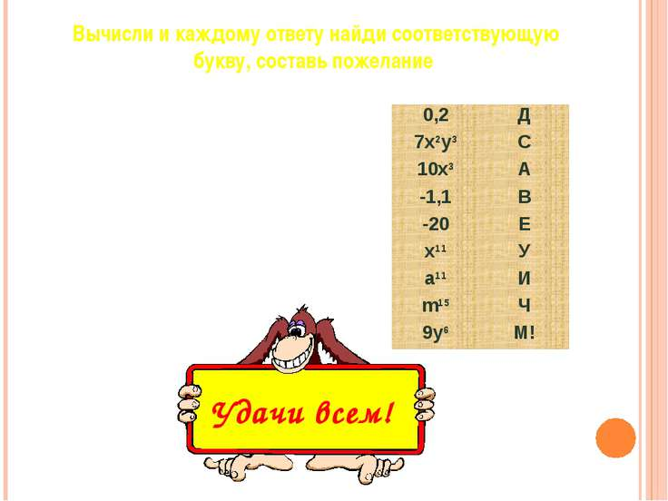 X5(x2)3 0,4∙0,5 2x∙5x2 (m2m3)3 (a3)2a5 1,5-2,6 2x2y3+5x2y3 -15,8-4,2 9yy2y3 ...