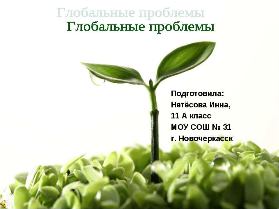 Подготовила: Нетёсова Инна, 11 А класс МОУ СОШ № 31 г. Новочеркасск