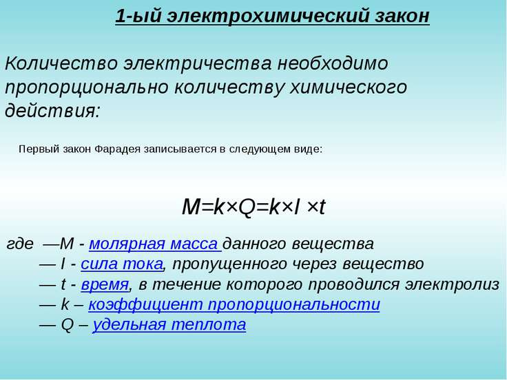 1-ый электрохимический закон Количество электричества необходимо пропорционал...