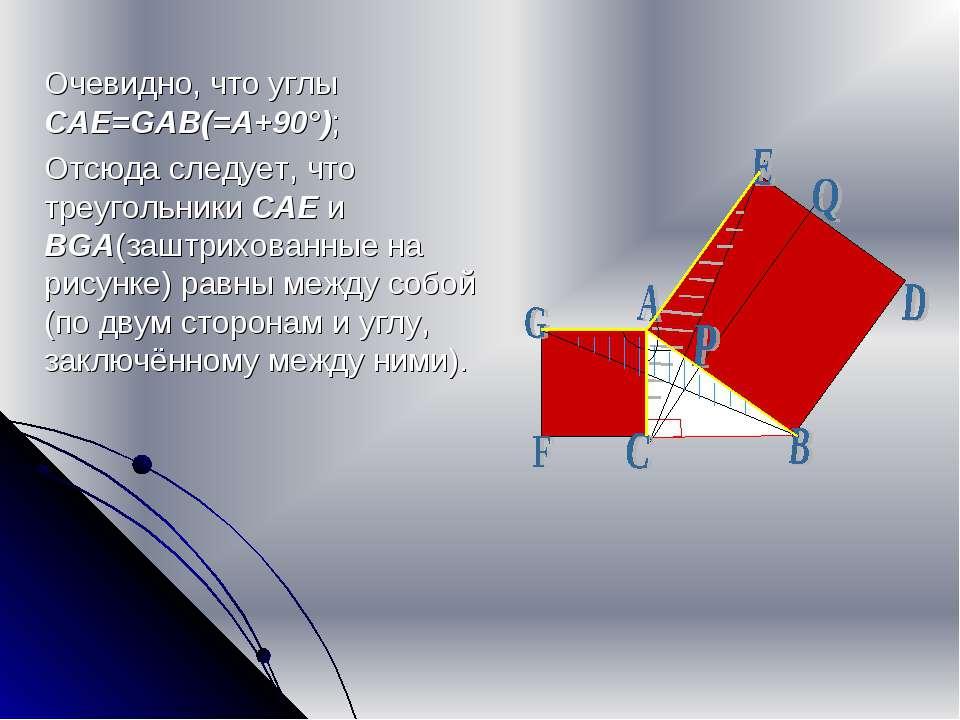 Очевидно, что углы CAE=GAB(=A+90°); Отсюда следует, что треугольники CAE и BG...