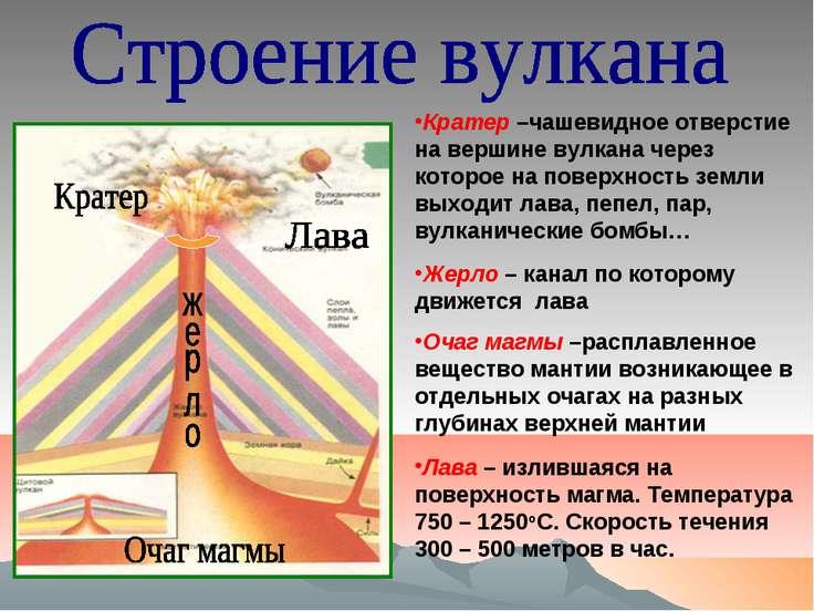 Кратер –чашевидное отверстие на вершине вулкана через которое на поверхность ...