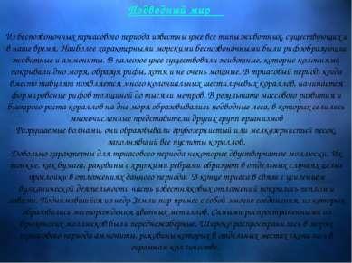Подводный мир Из беспозвоночных триасового периода известны уже все типы живо...