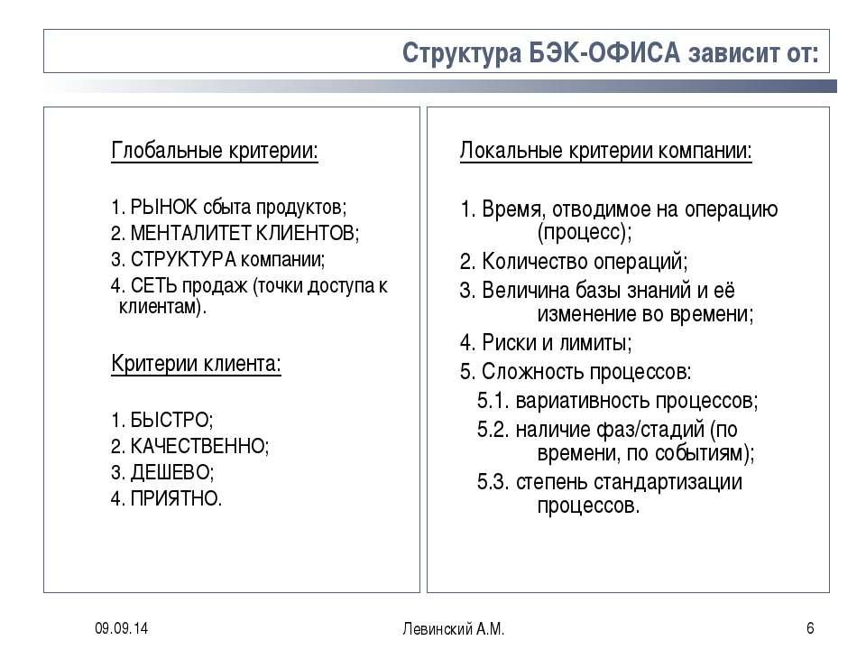 * Левинский А.М. * Структура БЭК-ОФИСА зависит от: Глобальные критерии: 1. РЫ...
