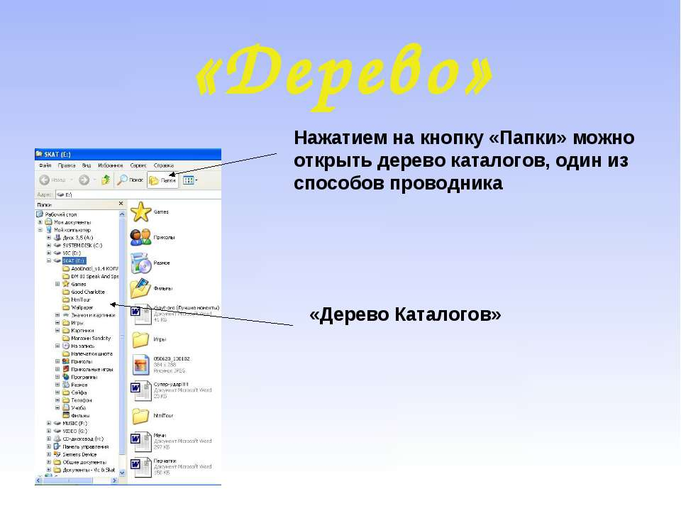 «Дерево» Нажатием на кнопку «Папки» можно открыть дерево каталогов, один из с...