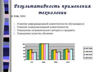 Результативность применения технологии в том, что: Развитие информационной ко...