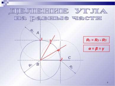 * А В R1 R3 R1 = R2 = R3 α = β = γ С • • • 1 2 R2 • 3 4