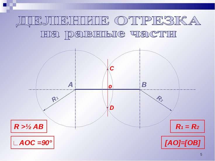 * А В С • • R >½ AB D o R1 R2 R1 = R2 ∟AOC =90° [AO]=[OB]