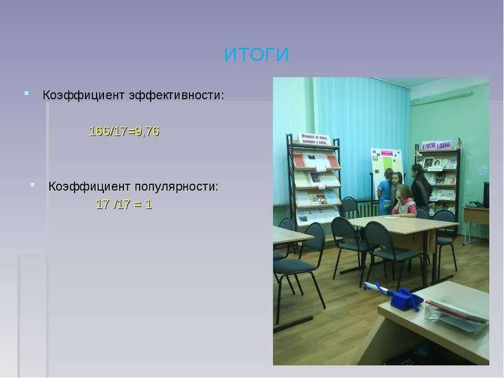 ИТОГИ Коэффициент эффективности: 166/17=9,76 Коэффициент популярности: 17 /17...