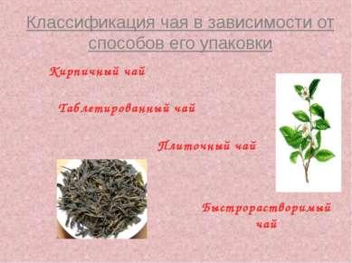 Классификация чая в зависимости от способов его упаковки Кирпичный чай Плиточ...