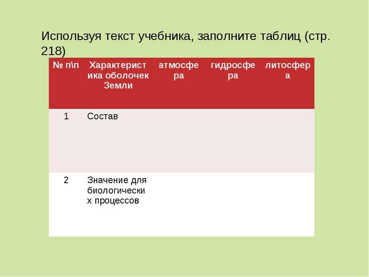 Используя текст учебника, заполните таблиц (стр. 218) № п\п Характеристика об...