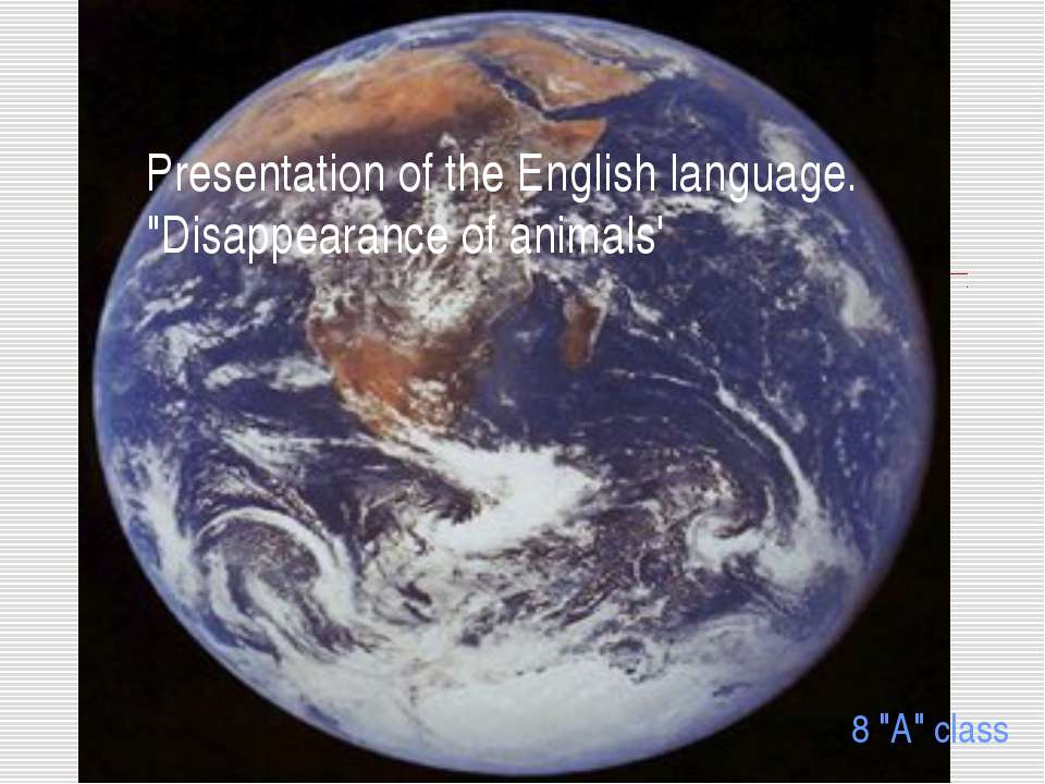 "Presentation of the English language. ""Disappearance of animals' 8 ""A"" class"