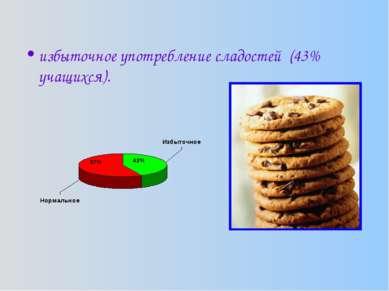 избыточное употребление сладостей (43% учащихся).