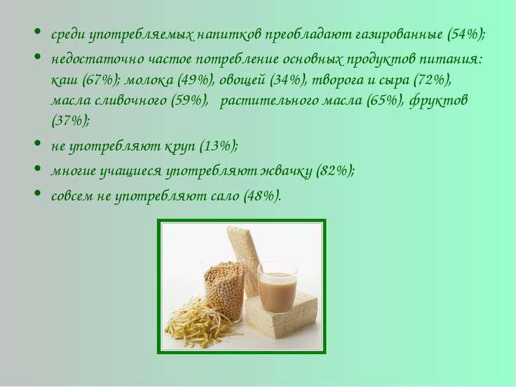 среди употребляемых напитков преобладают газированные (54%); недостаточно час...