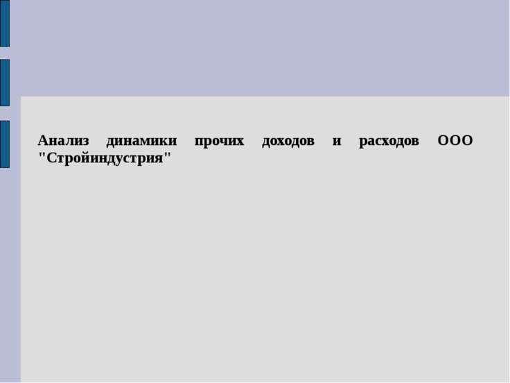 """Анализ динамики прочих доходов и расходов ООО """"Стройиндустрия"""""""