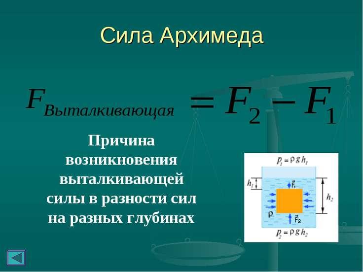 Сила Архимеда Причина возникновения выталкивающей силы в разности сил на разн...