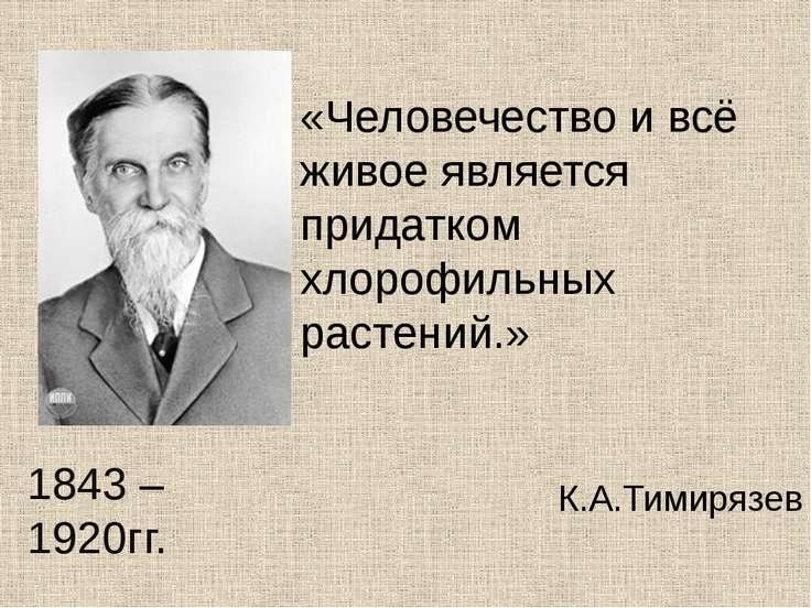 «Человечество и всё живое является придатком хлорофильных растений.» К.А.Тими...
