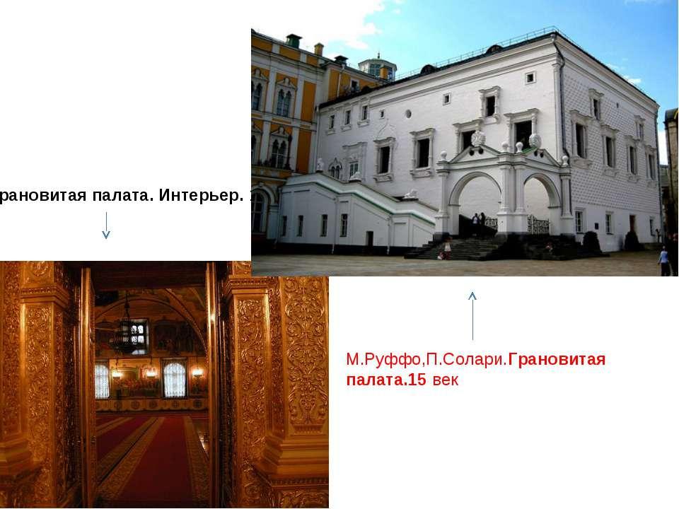 Грановитая палата. Интерьер. 15 век М.Руффо,П.Солари.Грановитая палата.15 век