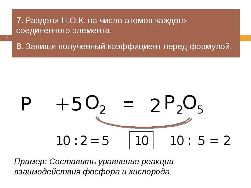 = 7. Раздели Н.О.К. на число атомов каждого соединенного элемента. 8. Запиши ...
