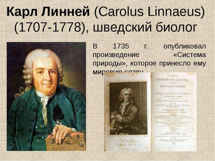 Карл Линней (Carolus Linnaeus) (1707-1778), шведский биолог В 1735 г. опублик...