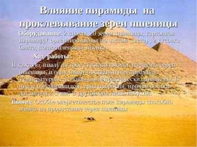 Влияние пирамиды на проклевывание зерен пшеницы Оборудование: 2 пиалы, 20 зер...