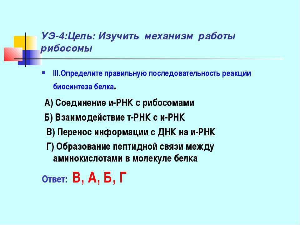 УЭ-4:Цель: Изучить механизм работы рибосомы III.Определите правильную последо...