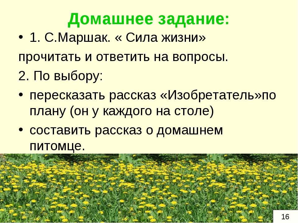 Домашнее задание: 1. С.Маршак. « Сила жизни» прочитать и ответить на вопросы....