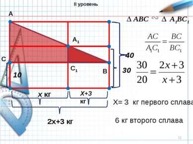 * 10 х кг Х+3 кг 2х+3 кг 30 40 А В С А1 С1 ABC A1BC1 X= 3 кг первого сплава 6...