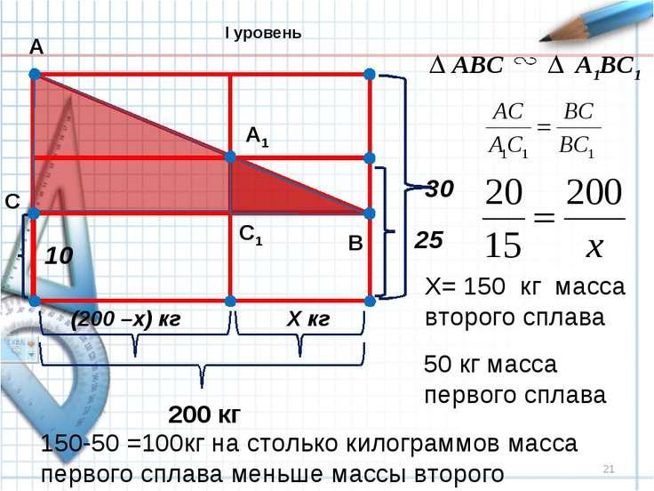 * 10 (200 –x) кг Х кг 200 кг 25 30 А В С А1 С1 ABC A1BC1 X= 150 кг масса втор...