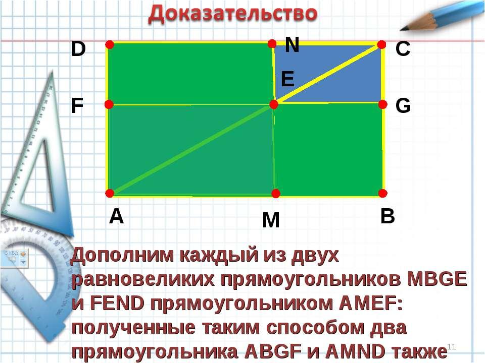 A B C D E F G M N Дополним каждый из двух равновеликих прямоугольников MBGE и...