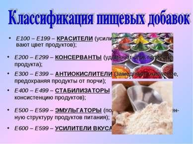 Е100 – Е199 – КРАСИТЕЛИ (усиливают и восстанавли-вают цвет продуктов); Е200 –...