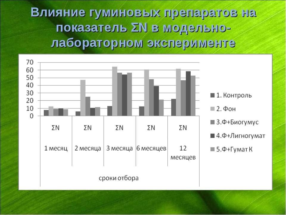 Влияние гуминовых препаратов на показатель ΣN в модельно-лабораторном экспери...
