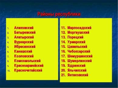 Районы республики Аликовский Батыревский Алатырский Вурнарский Ибресинский Ка...