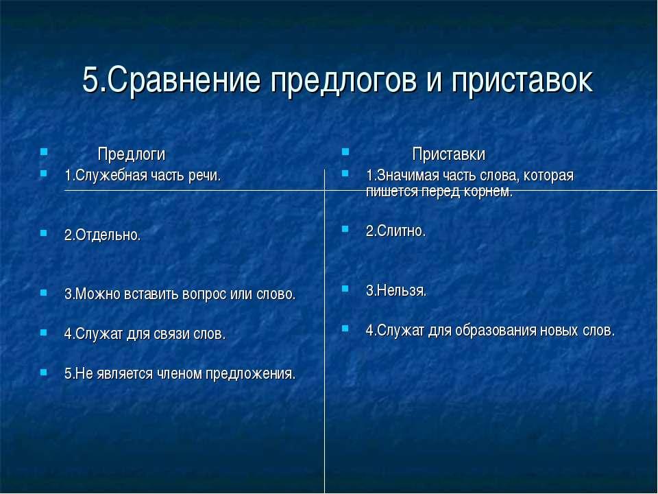 5.Сравнение предлогов и приставок Предлоги 1.Служебная часть речи. 2.Отдельно...