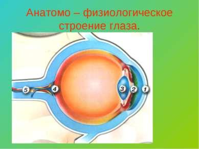 Анатомо – физиологическое строение глаза.