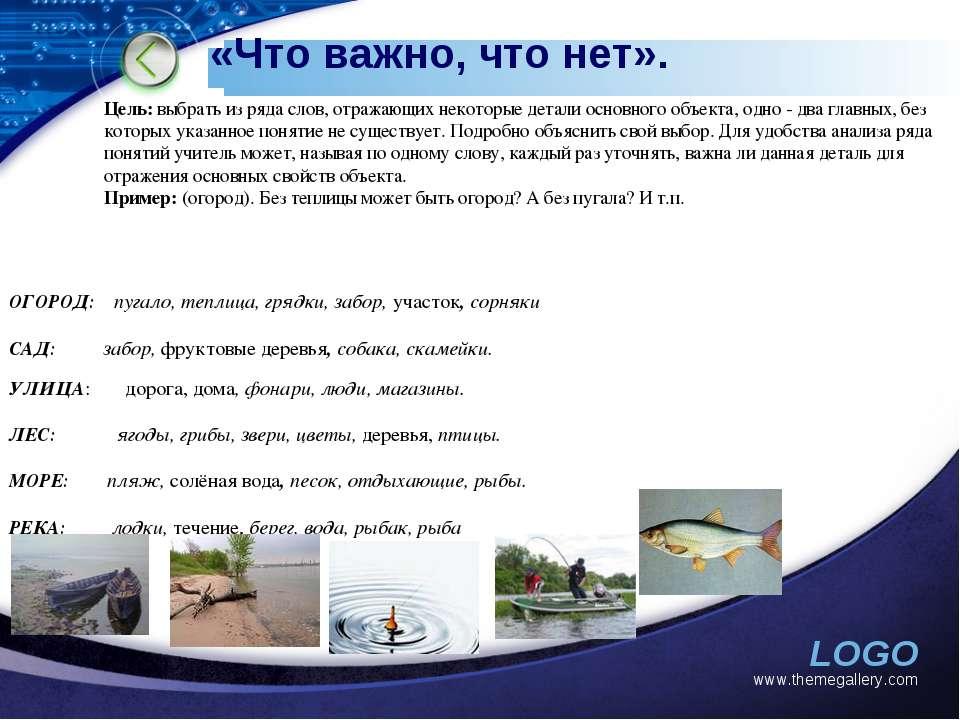 «Что важно, что нет». www.themegallery.com Цель: выбрать из ряда слов, отража...