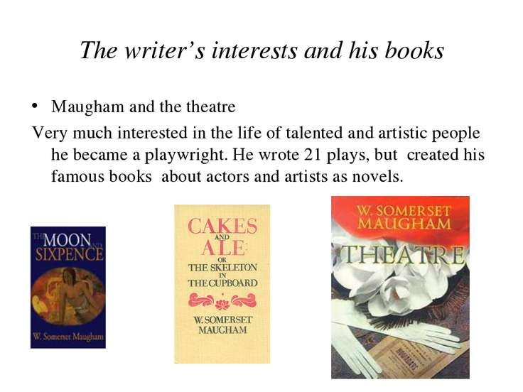 The writer's interests and his books Maugham and the theatre Very much intere...