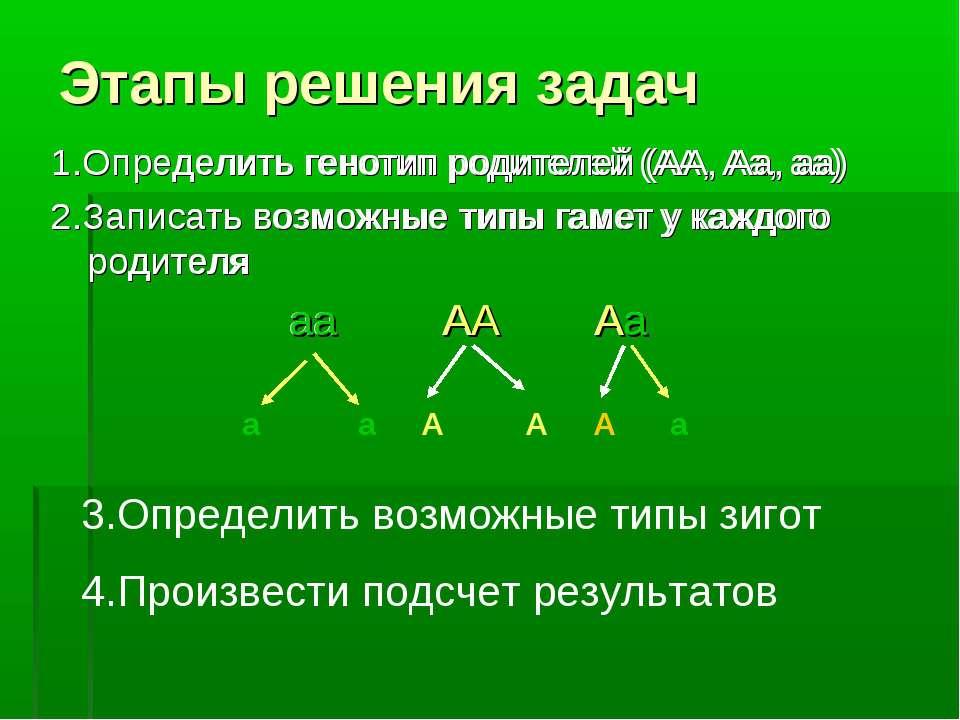 Этапы решения задач 1.Определить генотип родителей (АА, Аа, аа) 2.Записать во...