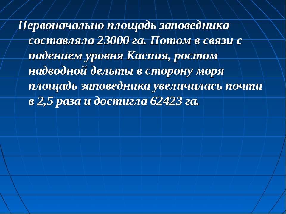 Первоначально площадь заповедника составляла 23000 га. Потом в связи с падени...