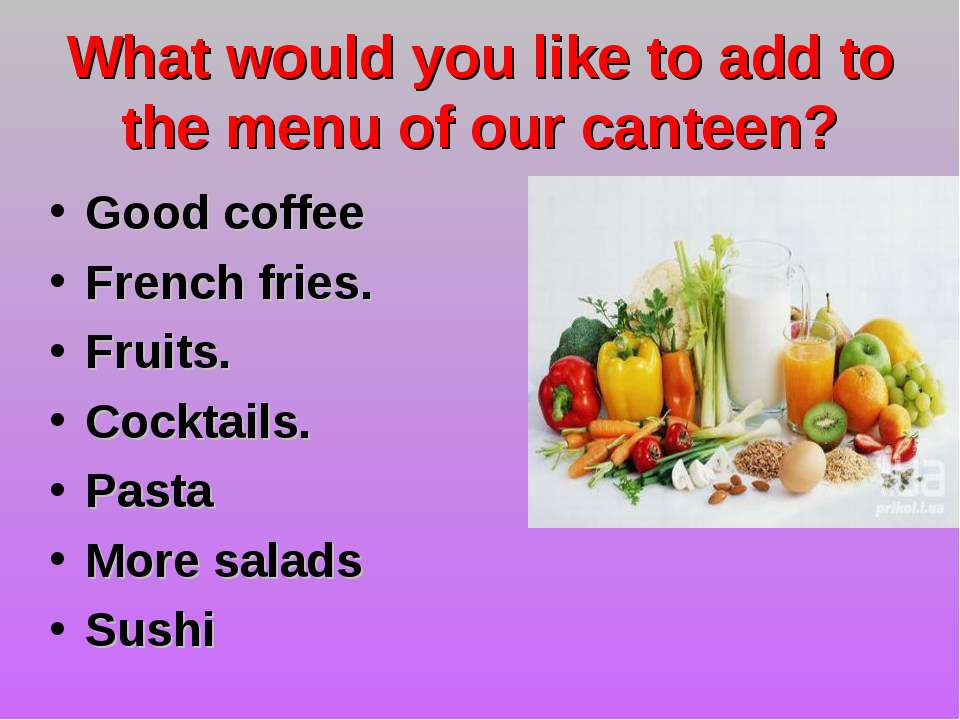 What would you like to add to the menu of our canteen? Good coffee French fri...