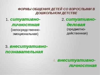 ФОРМЫ ОБЩЕНИЯ ДЕТЕЙ СО ВЗРОСЛЫМИ В ДОШКОЛЬНОМ ДЕТСТВЕ 4. внеситуативно- лично...