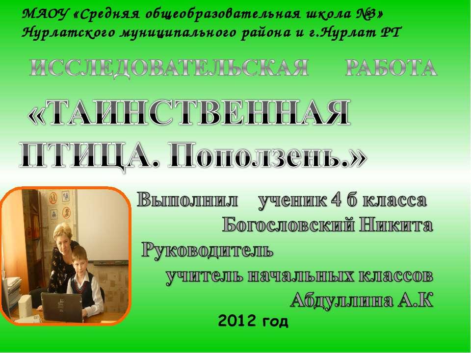 МАОУ «Средняя общеобразовательная школа №3» Нурлатского муниципального района...