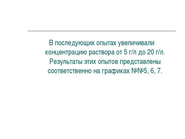 В последующих опытах увеличивали концентрацию раствора от 5 г/л до 20 г/л. Ре...
