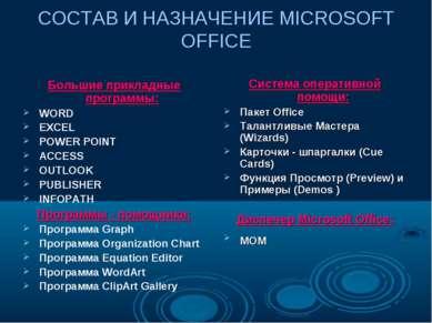 СОСТАВ И НАЗНАЧЕНИЕ MICROSOFT OFFICE Большие прикладные программы: WORD EXCEL...