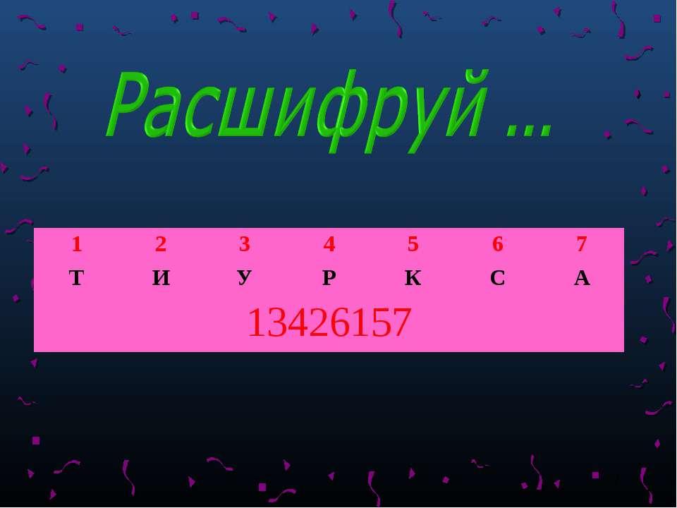 * 1 2 3 4 5 6 7 Т И У Р К С А 13426157