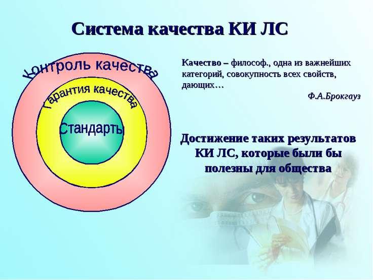 Система качества КИ ЛС Качество – философ., одна из важнейших категорий, сово...