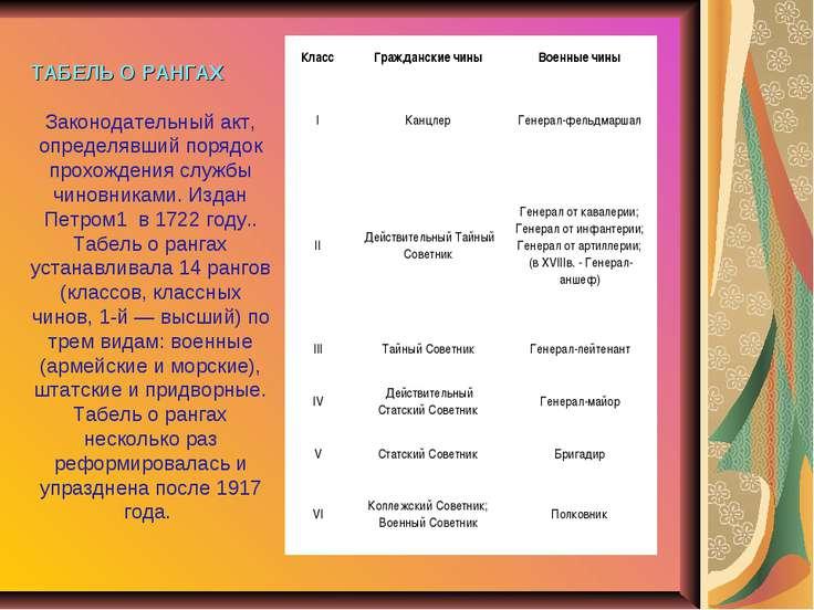 ТАБЕЛЬ О РАНГАХ Законодательный акт, определявший порядок прохождения службы ...