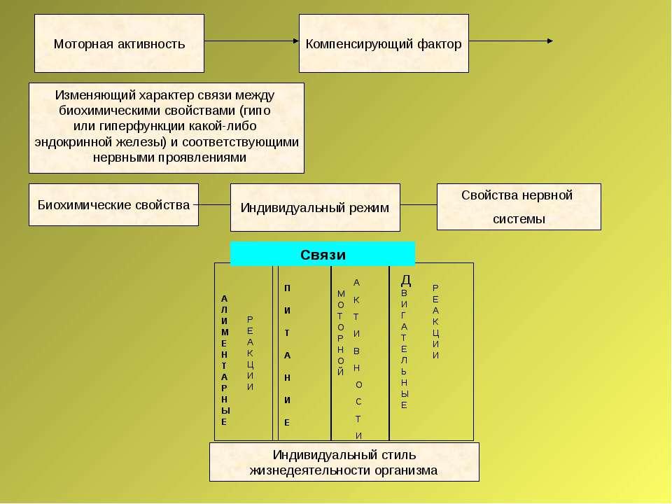Моторная активность Компенсирующий фактор Изменяющий характер связи между био...